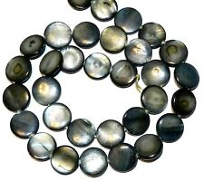 MP619f Dark Steel Blue-Black 12mm Flat Round Mother of Pearl Shell Beads 15""