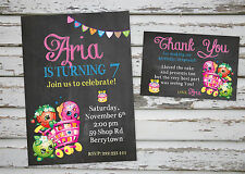 Shopkins Birthday Party invitation printable with free matching Thank You card