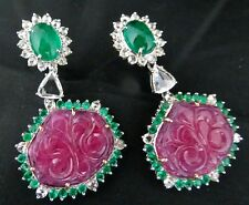 AAA+ NATURAL UNHEAT EMERALD CABOCHON RUBY CARVED ROSECUT DIAMOND 18KGOLD EARRING