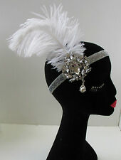 White Silver Ostrich Feather Headpiece Great Gatsby Flapper Headband 1920s W58