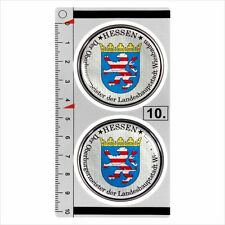Hessen​​ set of 2 German Number Plate Seal Stadt 3D Domed resin Sticker badge