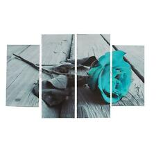 Black White Teal Rose Floral Canvas Print Painting Wall Art Flower Home Decor