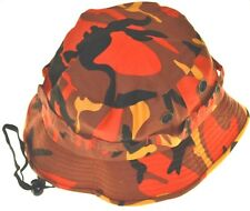 Camouflage Twill Hunting Hat With Bullet Belt-orange camo-large