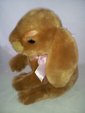 """Large Brown Bunny Rabbit Pink Bow Easter Commonwealth 16"""" 2003 Stuffed Animal"""