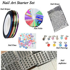 Nail Art Starter Set, Nail Stripes, Folie, Strasssteine, Fimo, Nagelpiercing