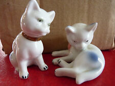 Cute Vintage Glossy Ceramic Collection 2½ '' Funny Cats Duo Figurines !