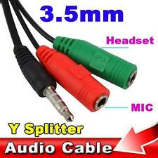 Dual Ports 3.5mm Jack 1 to 2 Audio+ Mic Headpset Extension Y Splitter- tablet pc