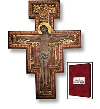 San Damiano Crucifix Christ on Cross Icon Wood Plaque for Home Church Sanctuary