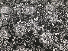 4 Metres Black with White Hippy Flowers, Floral Cotton/Spandex Dress Fabric.