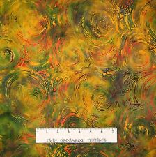 Bali Batik Fabric - Molten Lava Green Orange - Princess Mirah Quilt Cotton YARD