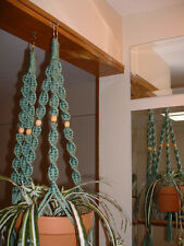 LOT 2 Macrame Plant Hangers SAGE TAN BEADS Made in USA