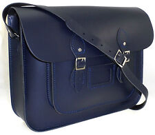 EXTRA LARGE MENS WOMENS REAL LEATHER SATCHEL SCHOOL SHOULDER CROSSBODY BAG BLUE