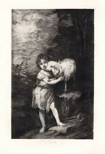 "Outstanding 1800s Bartolome MURILLO Etching ""Behold the Lamb of God"" SIGNED COA"
