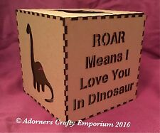 Lampada in legno MDF Dinosauro NIGHT LIGHT BOX CUBO 15cm/150mm in legno Craft