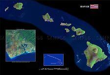 Mapa del condado de satélite de Estados Unidos Bandera Del Estado De Hawai Antigua Gran Repro de cartel impresión pam1367