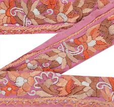 "ANTIQUE VINTAGE SAREE BORDER HAND EMBROIDERED CRAFT FLORAL TRIMS 1""W RIBBON PINK"