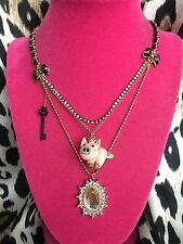Betsey Johnson Vintage Rose Garden Flying Pig Crystal AB Key Charm Necklace RARE