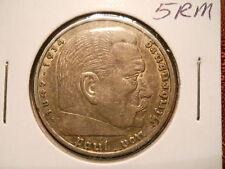 Germany, Third Reich 5 Reichsmark, 1936 A, Berlin Mint Hindenburg issue