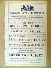 1867 Theatre Royal,Haymarket Programme ROMEO AND JULIET by W Shakespeare,30 Sept