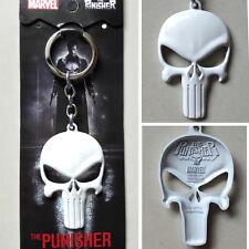 2016 Marvel Comics The Punisher The skeleton Logo White 6cm Metal Key chain Ring