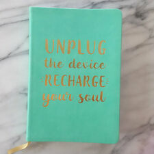 Blank UNPLUG THE DEVICE RECHARGE SOUL Journal Inspiring Diary Eccolo Turquoise