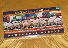 Little Puppies Xmas Puzzle sealed 750pc Panoramic sleeping dogs presents BGI USA