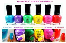 6 PCs Kleancolor NEON Color Nail Polish! Neon Nail Lacquer Collection *US SELLER