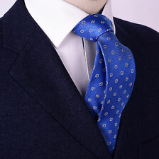 """Blue Lucky Four Leaf Clover Skinny 3"""" Woven Tie Sexy Designer Floral Fashion B2B"""