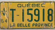🚨🚨☀️☀️ 🏁 🏁 AUTHENTIC CANADA 1964 QUEBEC LICENSE PLATE.  TAXI T-15918
