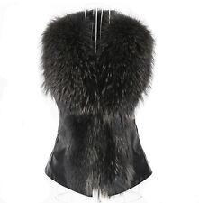 Women's Fall Sleeveless Faux Leather Faux Fur Collar Vest Jacket Waistcoat Coat