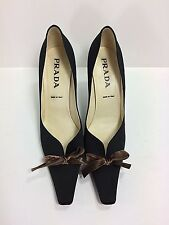 PRADA Black Satin Heels with Brown Velvet Bow Detail size 39 or US 8.5   WOW