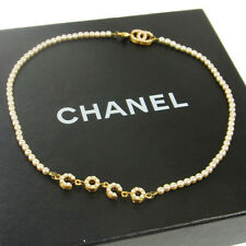 Authentic CHANEL Vintage CC Logos Gold Chain Imitation Pearl Necklace V12306