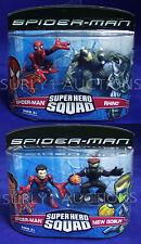 RHINO + NEW GOBLIN + 2 SPIDER-MAN Super Hero Squad Figure 2-Packs -TWO Sets 2007