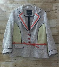 tricot chic 12 blazer lapel collar button front belt loop made italy casual