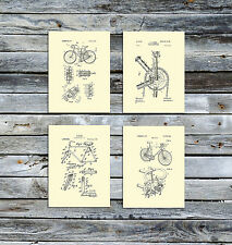 Bicycle Wall Art Decor Unframed set of 4 Urban Art Prints, Gift for bicyclist