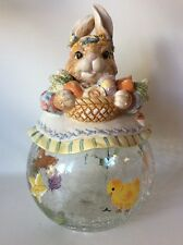 Paris & Beebee Rare Easter Bunny Cookie Candy Jar Spring Rabbit Crackle Glass