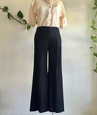 Vintage Chloe Wool Viscose Midnight Navy Flared Pants Trousers Size 36