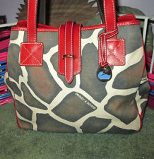 Edgy DOONEY & BOURKE Animal GIRAFFE PRINT Duck Tag LEATHER Trim KEY CASE Tote