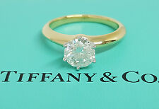 Tiffany & Co 1.01 ct 18K Gold / Platinum Round Diamond Solitaire Engagement Ring
