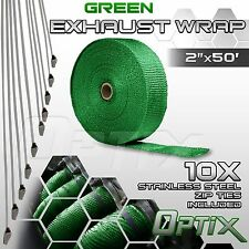 "2"" x 50FT Manifold Header Exhaust Thermal Heat Tape Wrap + Ties - Green (M)"