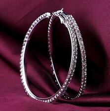 1 pair Big Hoop silver white Clear Crystal Rhinestone Circle Round Earrings