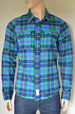 NEW Abercrombie & Fitch Lake Harris Flannel Shirt Navy Blue & Green Plaid M