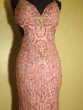 LONG PINK LACE FULLY BEADED FORMAL DRESS GOWN PAGEANT RED CARPET SMALL 4 RIVA