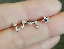 Big Dipper The Plough white gold plated earring asymmetric studs silver zircon
