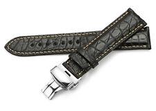 Alligator Skin Strap Genuine Leather Watch Band Steel Deployment Clasp Men Women
