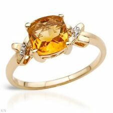 STUNNING SOLID 10K YELLOW GOLD GENUINE CITRINE AND DIAMOND RING 7 / O U$870