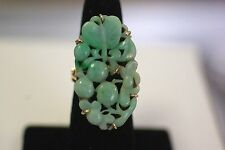 Antique 14K Yellow God Jadeite Jade Ring with an OLD REPAIR ON THE JADE