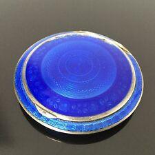 Poudrier Boite en Argent Email Guilloché Bleu - SOLID SILVER Enamel Compact BOX