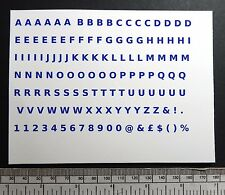 "Letter & number water-slide transfers 5 mm / 3/16"" - blue 128 characters"