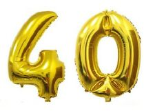 "40"" Large 40 Gold Number Balloons 40th Birthday Anniversary Foil Float Helium"